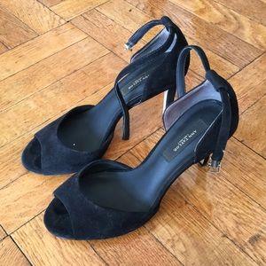Ann Taylor ankle strap black suede heels 7/7.5